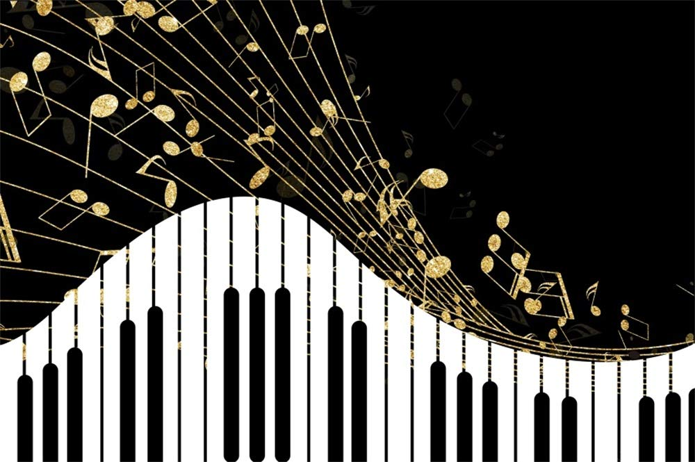 Aofoto 6x4ft Abstract Black And White Piano Keyboard Background Classic Music Notes Play Elegant Musical Instrument Theater Concert Backdrop Poster
