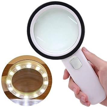44a293ba9a Powcan Lupa 10X con Luz LED de Alta Potencia- Lente de Aumento Iluminada con  Lente