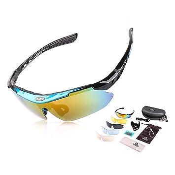Cool change damen und Herren Outdoor Sportbrille polarisierten Sonnenbrillen fahrradbrille Fünf Paar Linsen (Blau) bU4uatI