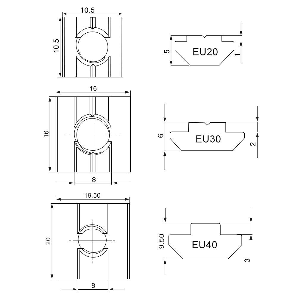 50pcs Tuercas de T-ranura Tuercas de Carredera en T Tuercas de Acero de Carbono Tuercas Recubiertas de N/íquel de Est/ándar Europeo EU30-M5