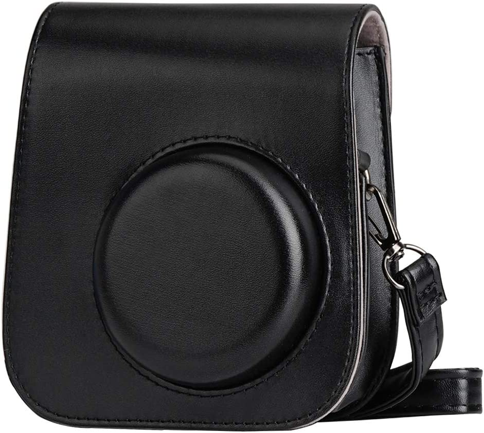Blummy PU Leather Camera Case for Fujifilm Instax Mini 11 Instant Camera with Adjustable Strap and Pocket(Black)