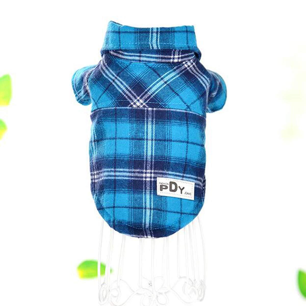 bluee S bluee S Pet and Winter Wear, Pomeranian VIP Dog, Casual Plus Velvet Plaid Shirt (color   bluee, Size   S)