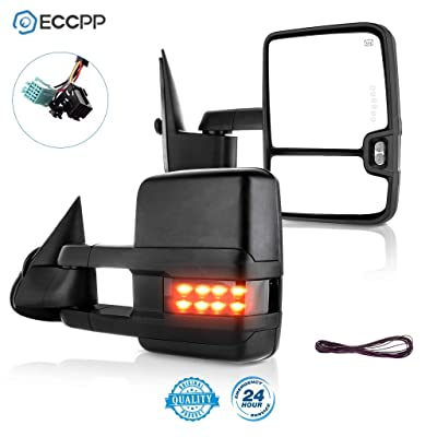 ECCPP Towing Mirrors Pair Side Replacement fit for 2003-2007 Chevy Silverado GMC Sierra Power Heated Signal Light: Automotive