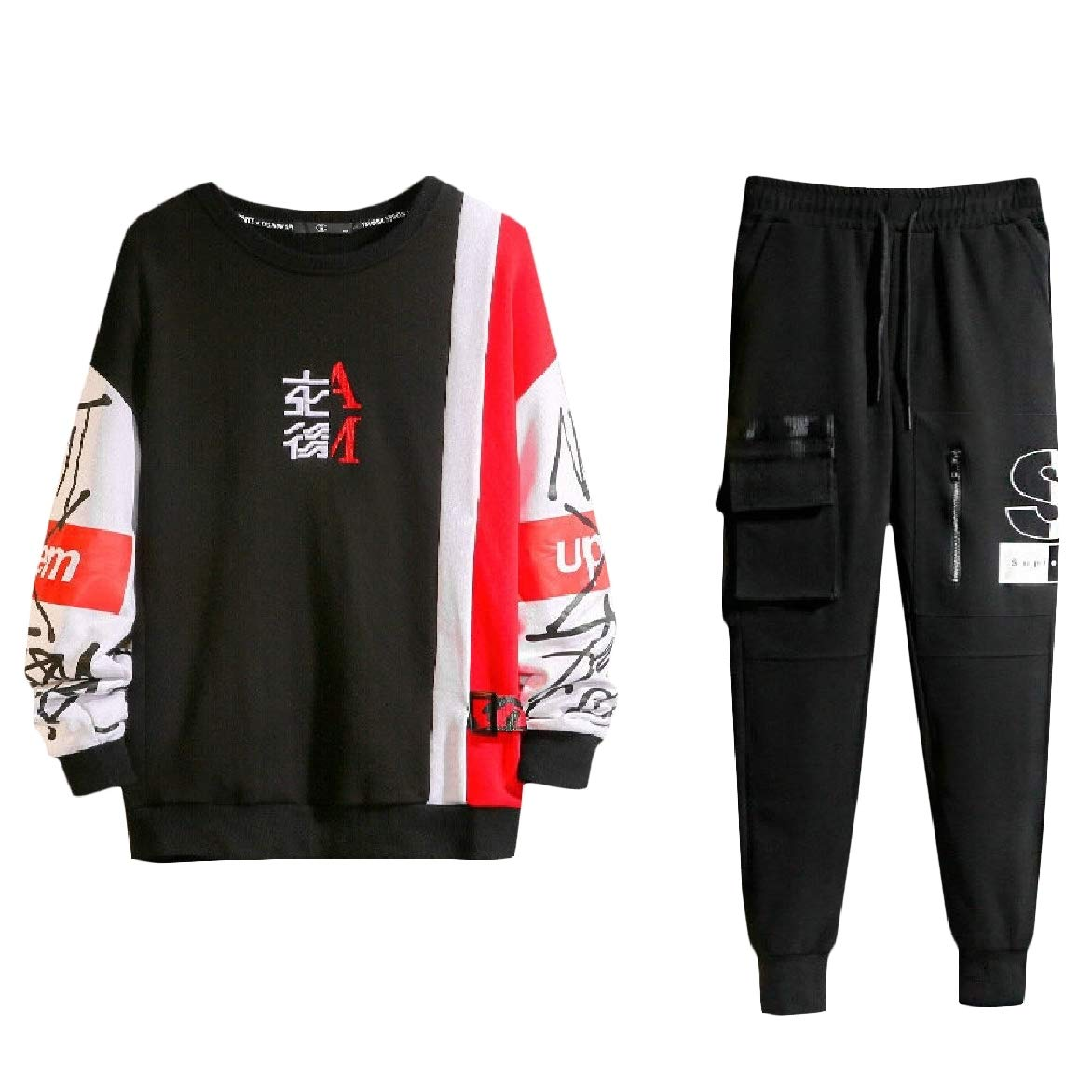 Winwinus Mens Pocketed Color Conjoin Casual 2-Pieces Fashional Tracksuit Set