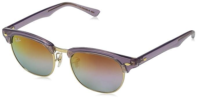 c2a37f5d74c3ce RAYBAN JUNIOR Unisex-Kinder Sonnenbrille Clubmaster Junior, Transparent  Violet Greenmirrorlillacgradviole, 47