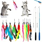 DILISS Feather Teaser Cat Toy, 2PCS Retractable Cat Wand Toys and 10PCS Replacement Teaser with Bell Refills, Interactive Cat
