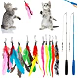 DILISS Feather Teaser Cat Toy, 2PCS Retractable Cat Wand Toys and 10PCS Replacement Teaser with Bell Refills…