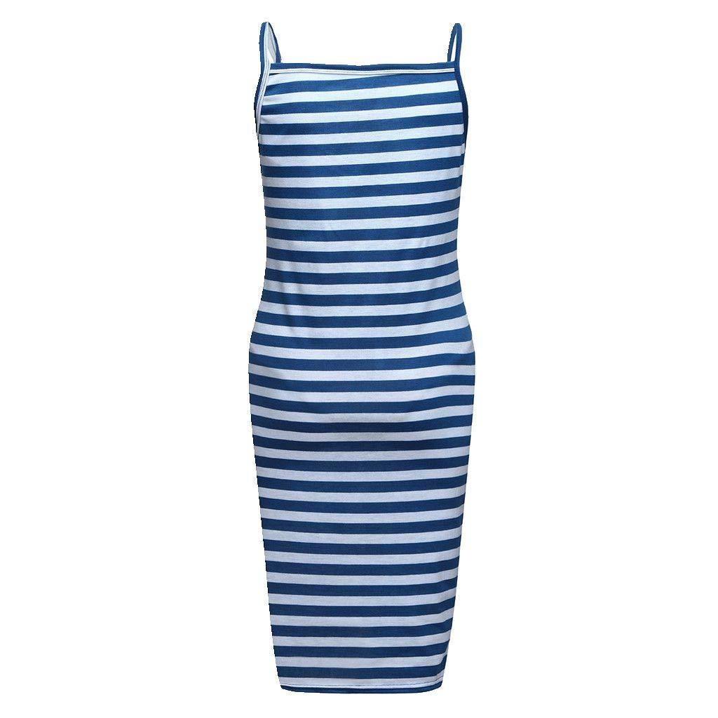 Women Summer Sleeveless Maternity Dresses Stripe Halter Bodycon Maxi Dress (XL, Blue)