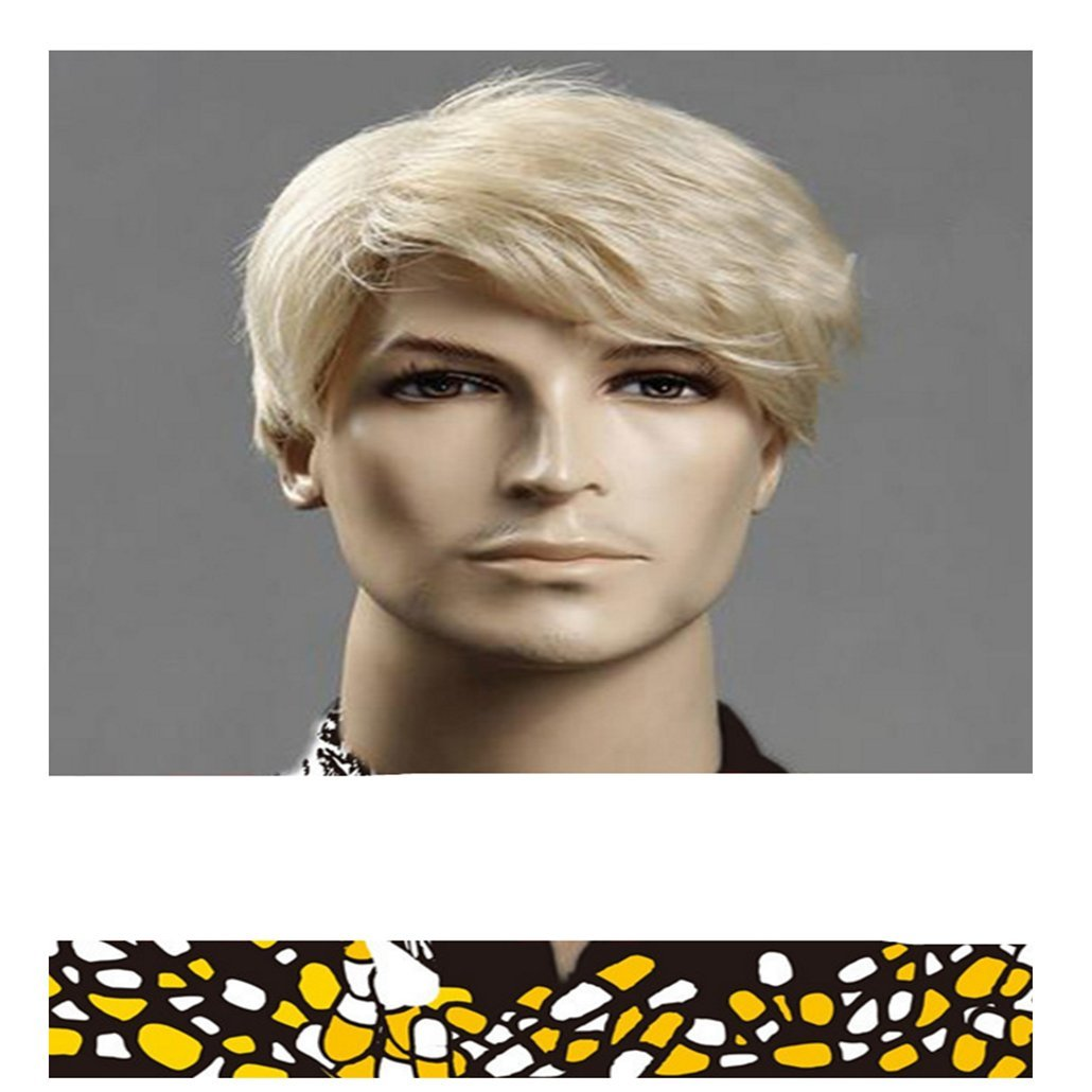Longlove courtes droites pour homme Blond Perruque résistant à la chaleur Perruque synthétique de qualité supérieure