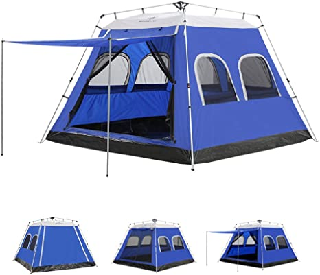 AYAMAYA Camping Tents 4 6 PersonsPeopleMan Instant Cabin Tent with [6 Screen Windows], Waterproof Hydraulic Automatic Quick Easy Setup Ventilation