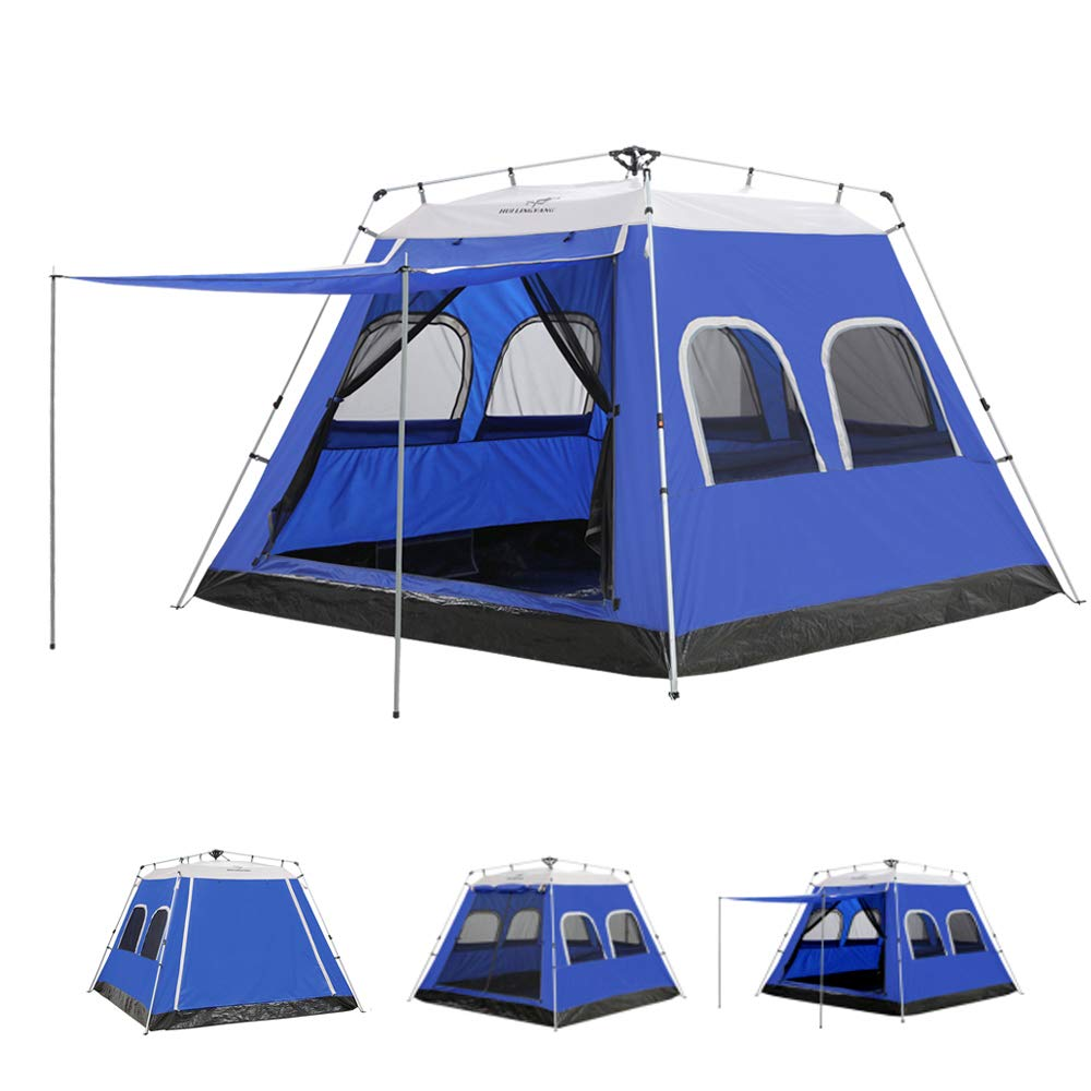 AYAMAYA Camping Tents 4-6 Persons/People/Man Instant Cabin Tent with [6  Screen Windows], Waterproof Hydraulic Automatic Quick Easy Setup  Ventilation