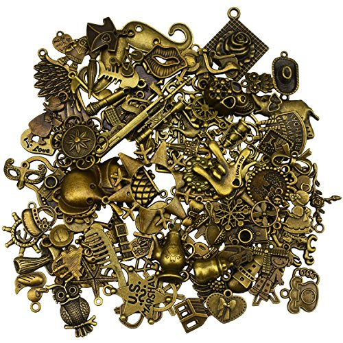 Accessory Vintage Jewelry - 100Pcs Antique Bronze Vintage Charms Set DIY Handmade Accessories Necklace Pendants Jewelry Making Supplies