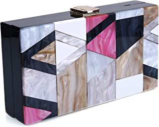 Acrylic Clutch Purse Perspex Box Handbags for Women Colorful Geometry Desiger