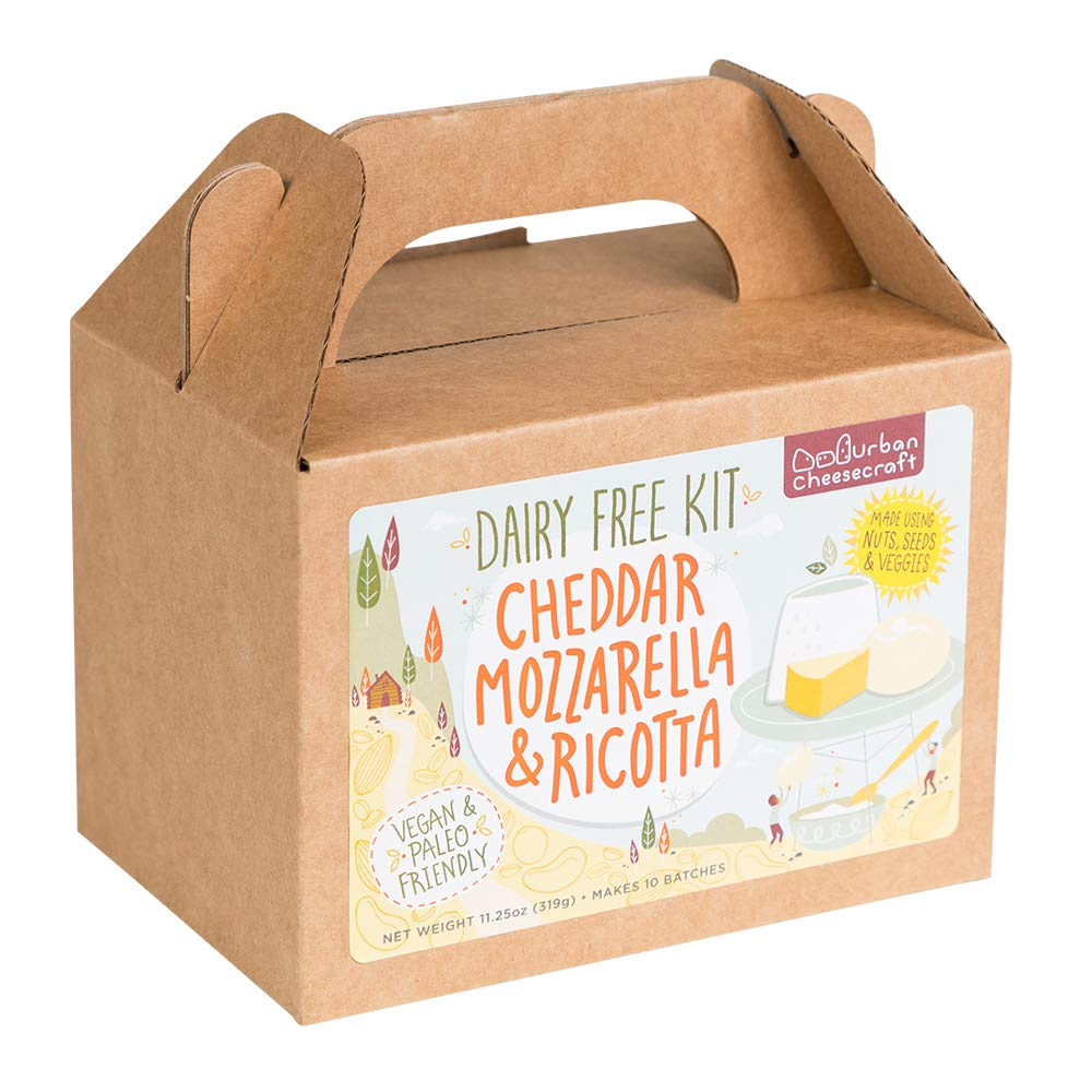 Dairy Free Cheese Making Kit - DIY Cheddar, Mozzarella, Ricotta Cheese Maker - All Natural, Vegan, Paleo, Gluten Free - Beginners Can Make Fresh, Homemade Cheeses in 1 HR - Supplies Included by Urban Cheesecraft