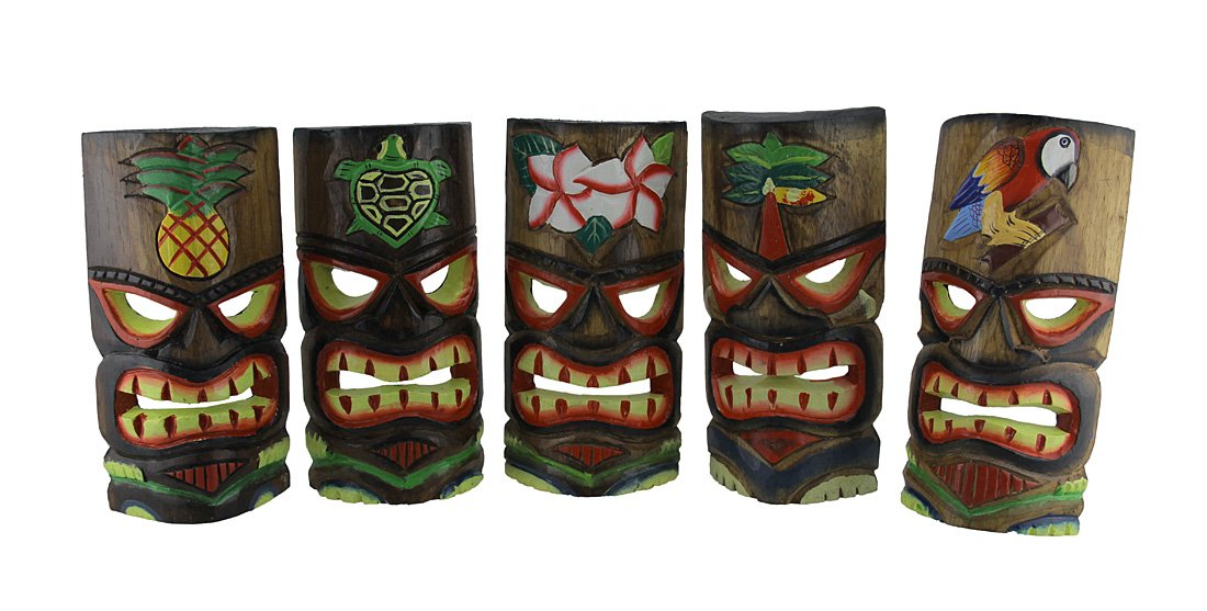 Zeckos Set of 5 Polynesian Style Wooden Tiki Masks 10 in. by Zeckos