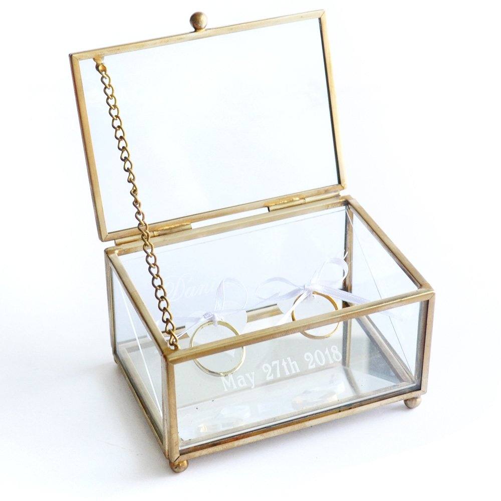 Personalized Glass Ring Bearer Box, Custom Glass Wedding Ring Box , Personalized Ring Bearer Box, Wedding Glsss Box LOVEhandmade W-006