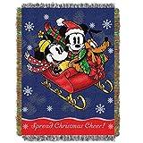 1pieza de 48' x 60' niños azul rojo Mickey Mouse manta, Mini mouse Navidad trineo Walt Disney de lunares diseño de sábanas copo de nieve gorro de Papá Noel perro Reef tapiz tela TV Show película poliéster
