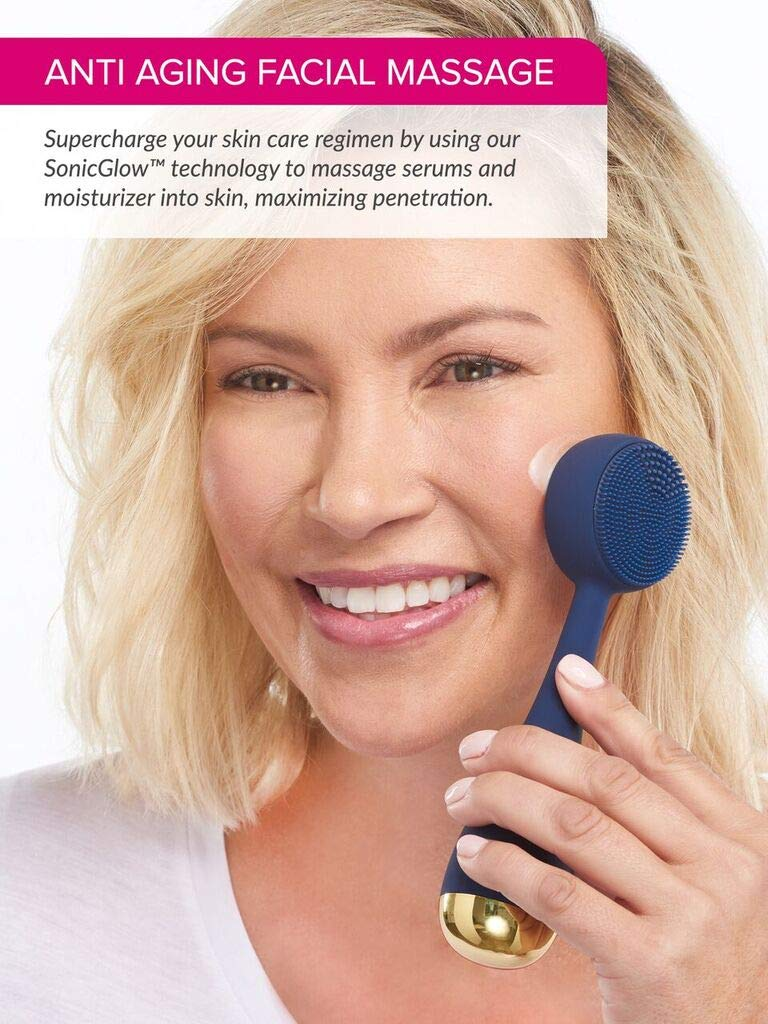 PMD Clean | Smart Facial Cleansing Brush and Face Massager Device for Youthful Skin | Navy with Gold by PMD Personal Microderm (Image #4)