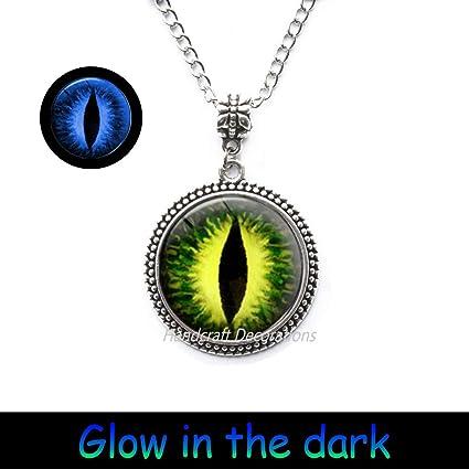 15646c1409c HandcraftDecorations Green and Yellow Eye Jewelry-Eyeball-Green Eye Glow  Pendant-Eye Jewelry-Green Eye Glowing Necklace