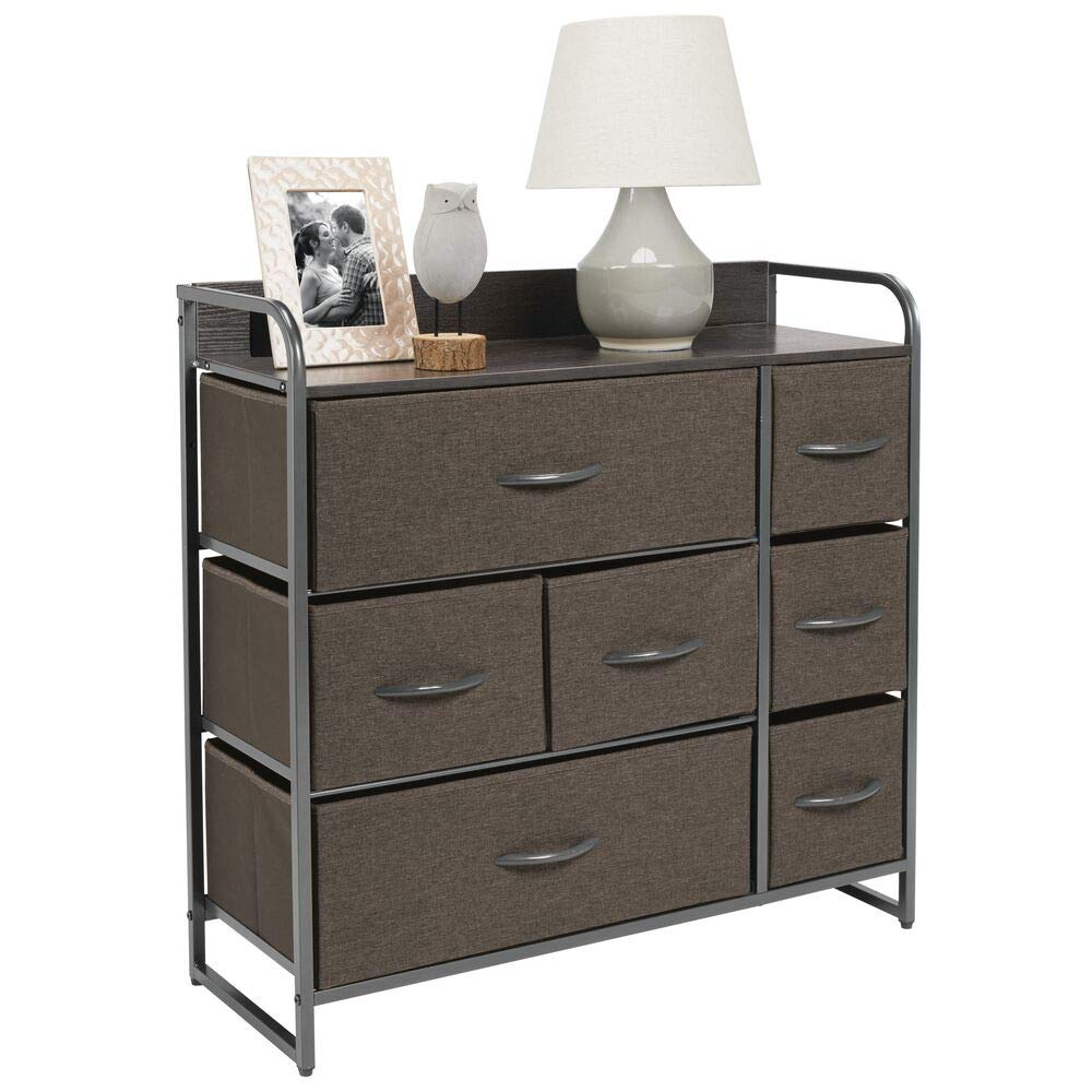 mDesign Wide Dresser Storage Chest, Sturdy Steel Frame, Wood Top & Handles, Easy Pull Fabric Bins, Organizer Unit for Bedroom, Hallway, Closet, Textured Print, 7 Drawers - Charcoal Gray/Graphite Gray