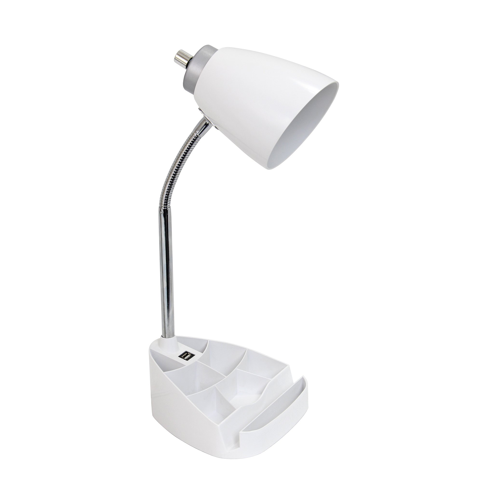 Limelights LD1056-WHT Gooseneck Organizer Desk Lamp with Ipad Tablet Stand Book Holder and USB Port, White