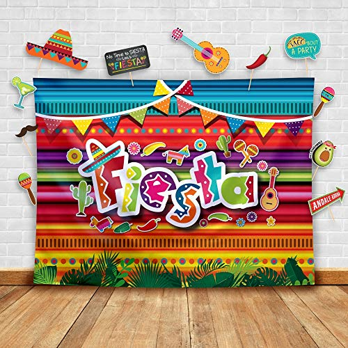 Summer Theme Parties (Summer Fiesta Theme Photography Backdrop and Studio Props DIY Kit. Great as Mexican Dress-up Photo Booth Background, Pool Birthday Party Supplies and Luau Event)