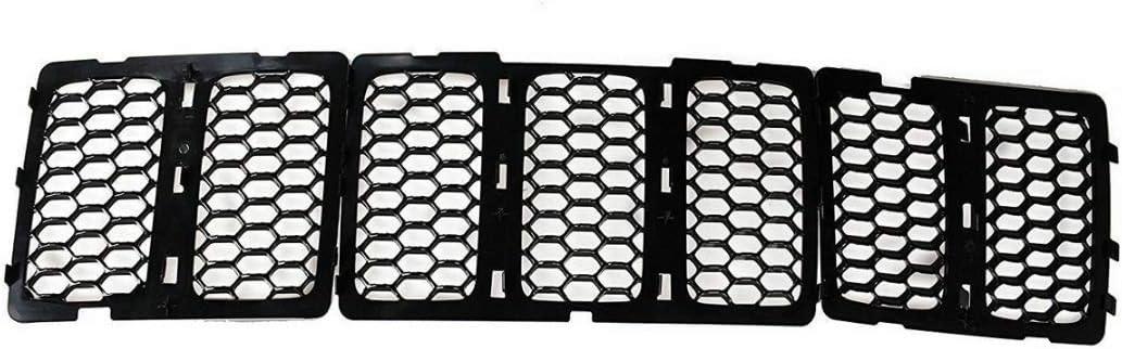 Nologo for Jeep 1set Nero Plastica Mesh Grille Kit Inserti griglia Anteriore della Copertura for Il Grand Cherokee 2014-2016