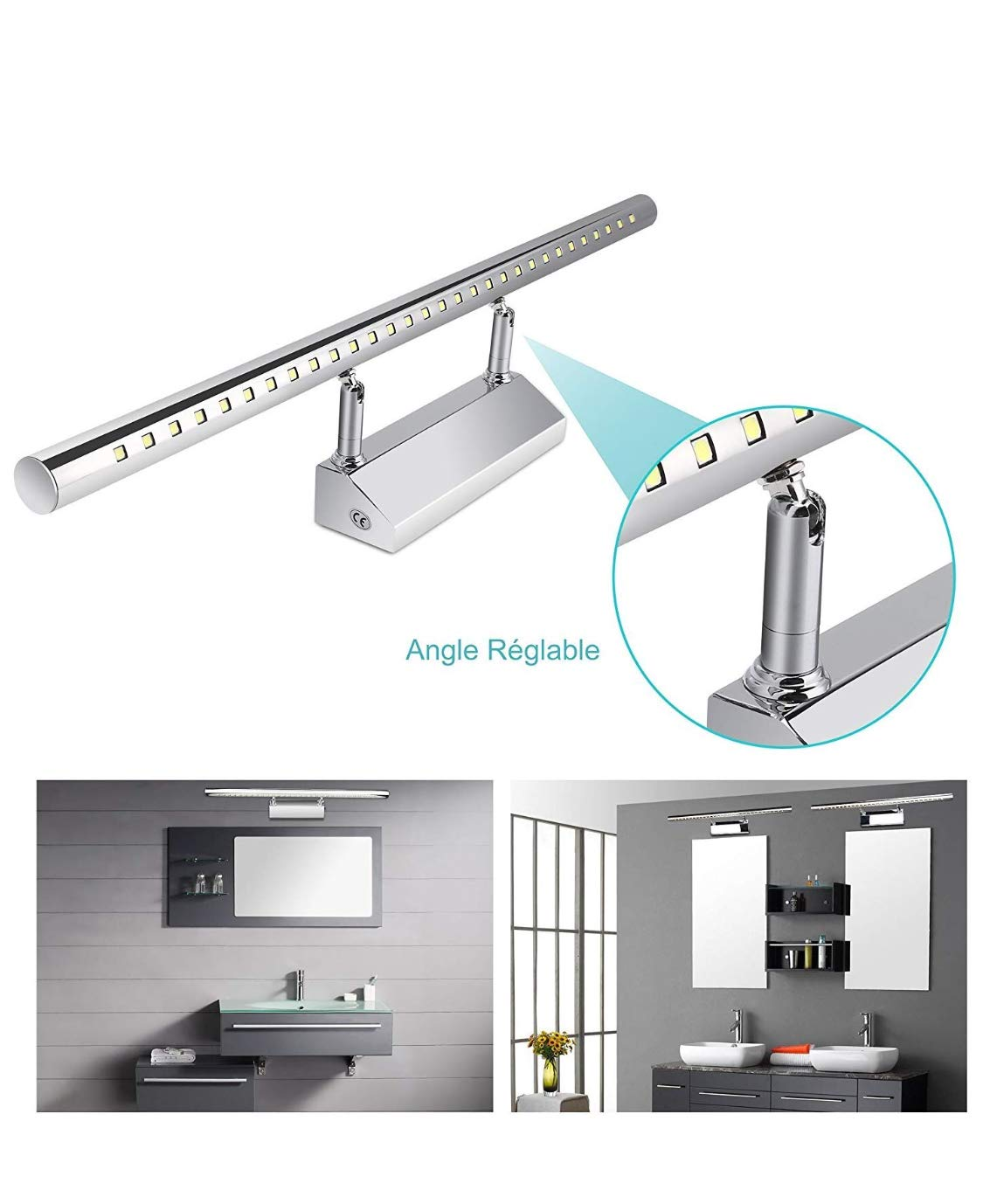 (LA) Aplique baño cromado 70cm LED 220V color blanco frio 6500K (70cm) [Clase de eficiencia energética A++] Led Atomant