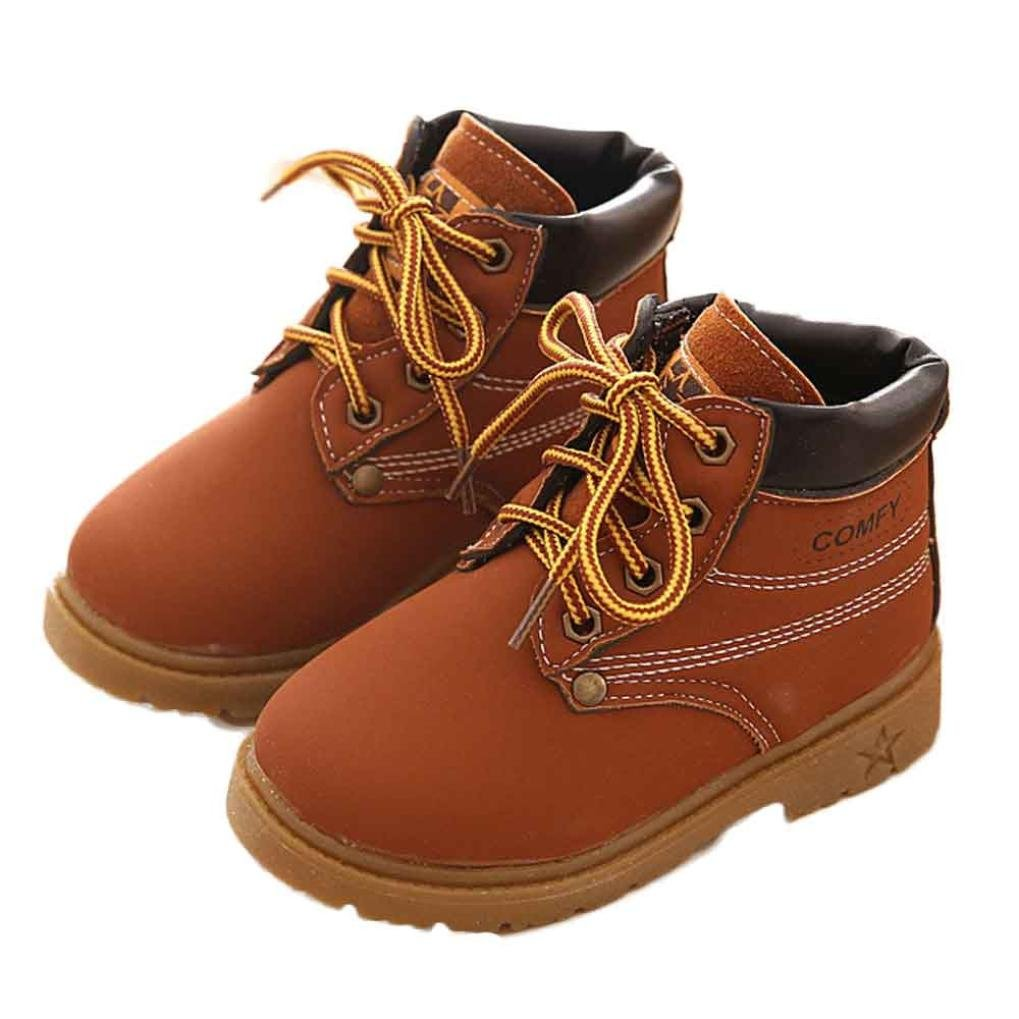 Shybuy Kids Classic Easy On Waterproof Winter Snow Work Boots for Girls and Boys (Toddler/Little Kid) (48M, Coffee)