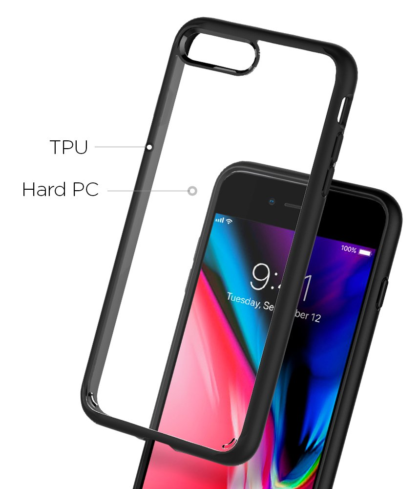 Spigen Ultra Hybrid [2nd Generation] iPhone 7 Plus Case/iPhone 8 Plus Case with Clear Backing and Air Cushion Technology for iPhone 7 Plus (2016)/iPhone 8 Plus (2017) - Black by Spigen (Image #6)