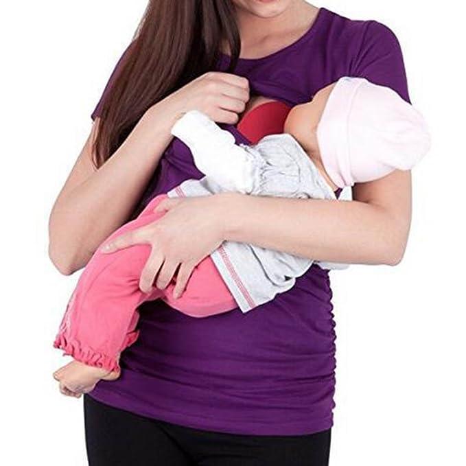 juqilu Embarazo Enfermería Mangas Cortas Ropa de Maternidad Tops de Lactancia Patchwork Camiseta para Mujeres Embarazadas