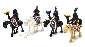 01349833378f7 Mini figures Armée de squelette et chevaux 4 pièces de soldats squelettes  et chevaux avec Armure ...