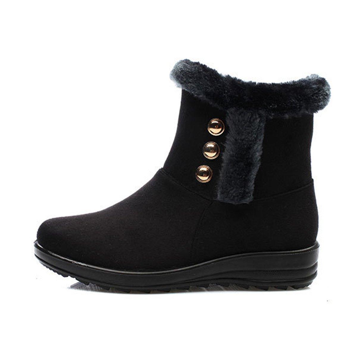 Dear Time Women Winter Warm Button Snow Boots (US 8, Black Rivet)