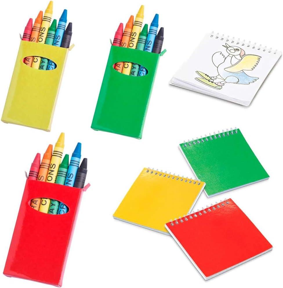 Lote de 25 libretas con Plantillas más 25 Cajas con 6 Ceras Cada Caja, para Colorear. Regalos para Eventos Infantiles, guardería, cumpleaños