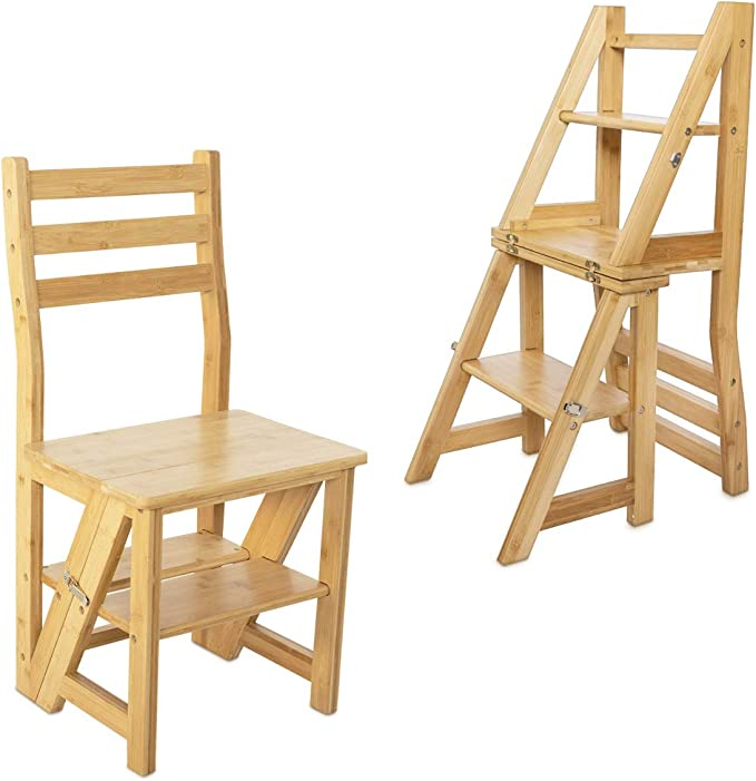 Navaris Silla Escalera Plegable - Taburete Convertible a Escalera o estantería de Madera - Silla Plegable 2 en 1 para Cocina - De Madera de bambú: Amazon.es: Oficina y papelería