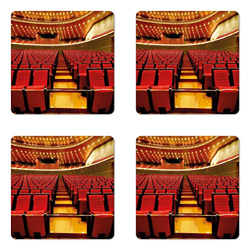 Lunarable Musical Theatre Coaster Set of 4, China National Grand Theater Hall Chairs Auditorium Eastern Imagery, Square Hardboard Gloss Coasters for Drinks, Red Pale Brown