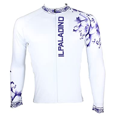 ILPALADINO Men s Cycling Jersey Long Sleeve Bike Shirt Blue White Porcelain  ... d5cddb237