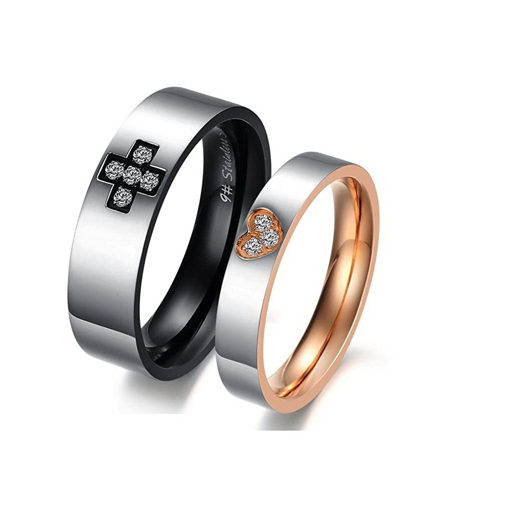 f37ebf41d9 Amazon.com: Amazing Titanium Stainless Steel Loving You Wedding Band Set  Anniversary Engagement Promise Couple Ring: Jewelry