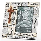 Roman Inc. Gift 8.25'' Christians Words and Saying Crossword Stoneware Frame Holds 4x6 Photo