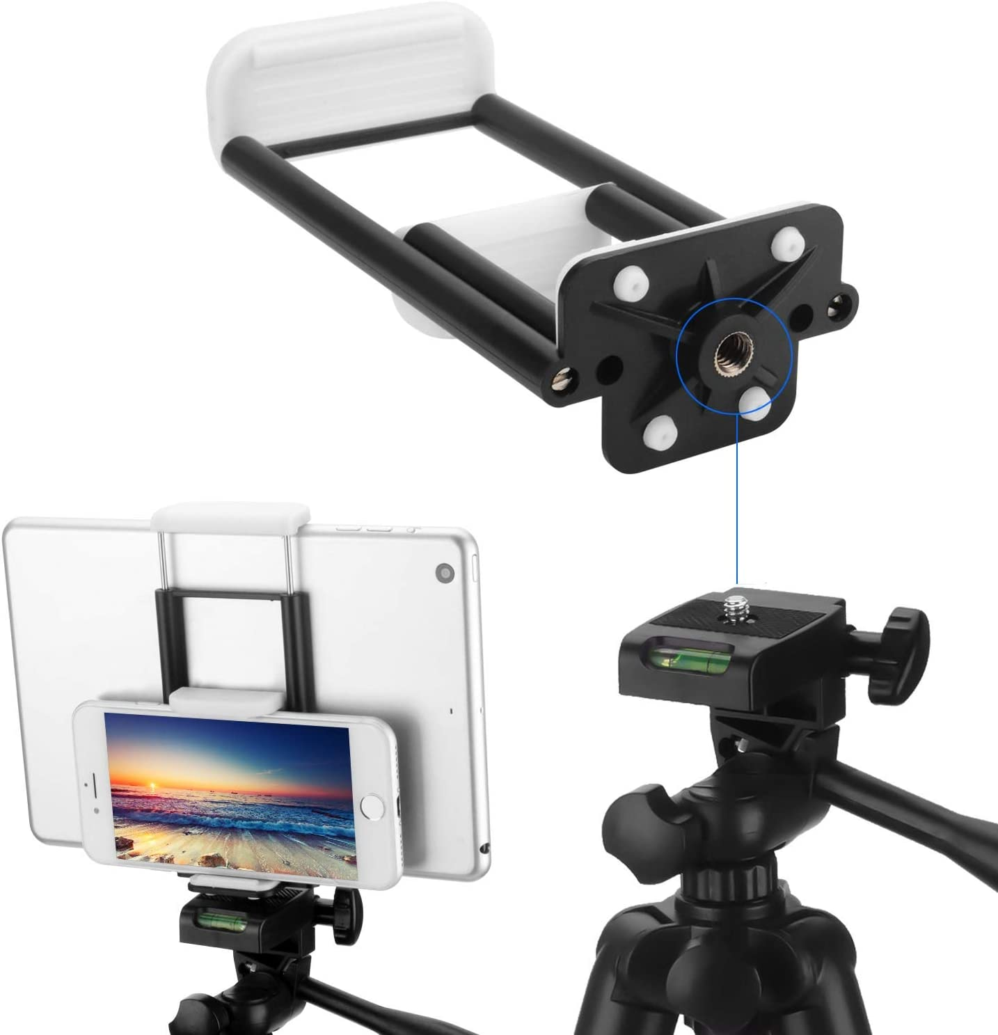 PEYOU Compatible for iPhone iPad Tripod Mount Adapter 2 in 1 Cell Phone Tablet Clamp Holder with Wireless Remote,Compatible for iPad Air Mini iPhone Xs Max XR X 8 Plus,for Monopod Selfie Stick Stand