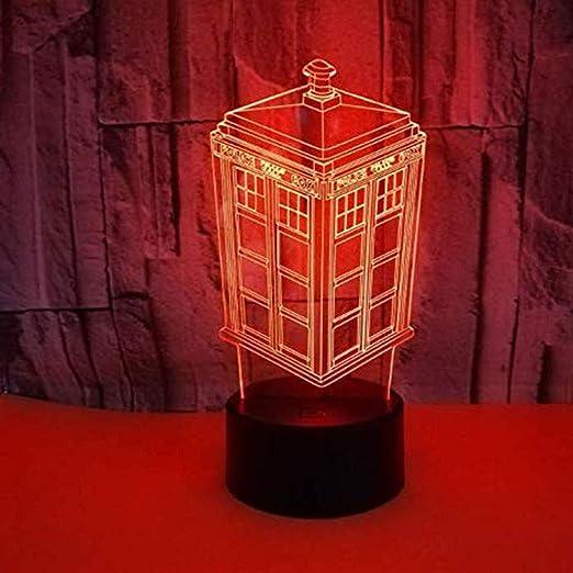 LEFA Cabina de teléfono LED Luz de la Noche Botón de Color 3D Luz ...