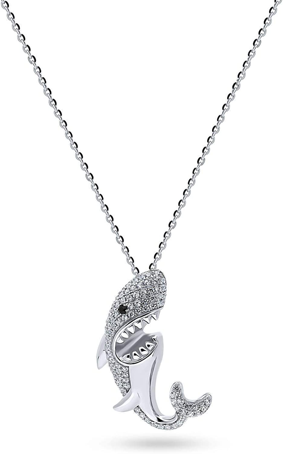 BERRICLE Rhodium Plated Sterling Silver Cubic Zirconia CZ Shark Fashion Pendant Necklace