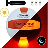 NIGHTMATCH Light Up LED Volleyball INCL. BALL PUMP and SPARE BATTERIES - Inside LED lights up when kicked - Glow in the Dark Volleyball - Official Size & Weight - Top Quality - white/orange