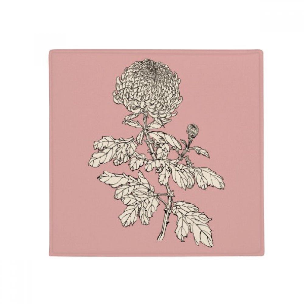 DIYthinker Flower Plant Black White Chrysanthemum Anti-Slip Floor Pet Mat Square Home Kitchen Door 80Cm Gift
