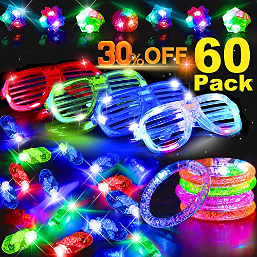 60 Pack LED Light Up Toy Glow in the Dark Party Supplies for Kids with 40 LED Finger Lights 5 LED Glasses 10 Flashing Rings 5 LED Bracelets for 2019 Halloween Prime Party Daily Birthday Gift