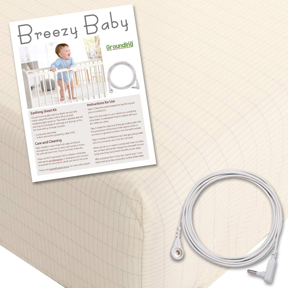 Grounding Fitted Crib Sheet with Grounding Connection Cord, 400TC with Pure Silver Thread to Help Your Child Sleep Better, Natural Beige by Breezy Baby