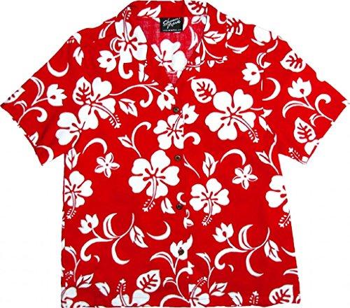 RJC Women's Hibiscus Pareo Hawaiian Camp Shirt Red XL