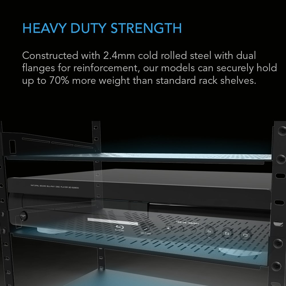 """AC Infinity Vented Cantilever 1U Universal Rack Shelf, for 19"""" equipment racks. Heavy-Duty 2.4mm Cold Rolled Steel, 60lbs Capacity by AC Infinity (Image #3)"""