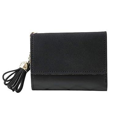 Women Simple Short Wallet Tassel Coin Purse Card Holders Women Wallets Cartera Female Purses,black