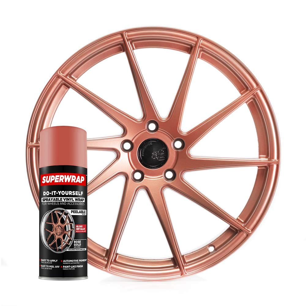 Superwrap Sprayable Vinyl Wrap - High Gloss Finish - Covers 4 Car Wheels Up to 19'' or 2 Motorcycle Wheels - Rose Gold - Wheel Kit by Superwrap
